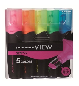 Uni Promark View Highlighter - 5 Color Set