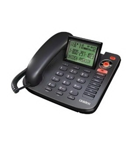 Uniden 1380BK Corded Caller ID phone with Answering System, black, one phone