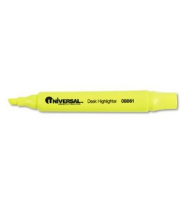Universal? - Desk Highlighter, Chisel Tip, Fluorescent Yellow, 12/Pk - Sold As 1 Dozen - Well-designed highlighter features bright colors and wide barrel.