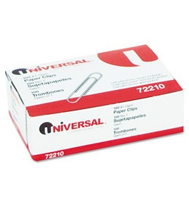 Universal 72210BX - Paper Clips, Smooth Finish, No. 1, Silver, 100/Box-UNV72210BX