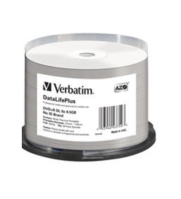 Verbatim DVD+R DL 8.5GB 8X DataLifePlus White Thermal Printable, Hub Printable - 50pk Spindle,Minimum Qty. 4 - 43754
