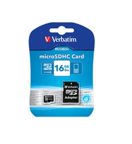 Verbatim 16GB Premium MicroSDHC Memory Card with Adapter, Class 10,Minimum Qty. 20 -44082