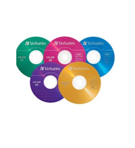Verbatim CD-RW 700MB 2X-4X DataLifePlus with Color Branded Surface and Matching Case - 10pk Slim Case, Assorted,Minimum Qty. 10 - 94325