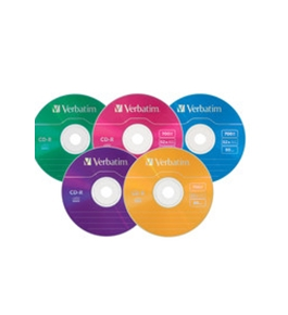 Verbatim CD-R 700MB 52X with Color Branded Surface - 25pk Slim Case, Assorted,Minimum Qty. 6 - 94611