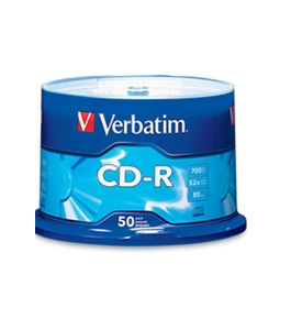 Verbatim CD-R 700MB 52X with Branded Surface - 50pk Spindle,Minimum Qty. 5 - 94691