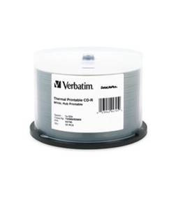 Verbatim CD-R 700MB 52X DataLifePlus White Thermal Printable, Hub Printable - 50pk Spindle,Minimum Qty. 5 - 94795