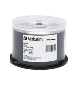 Verbatim DVD-R 4.7GB 8X DataLifePlus Shiny Silver Silk Screen Printable - 50pk Spindle,Minimum Qty. 4 - 94852