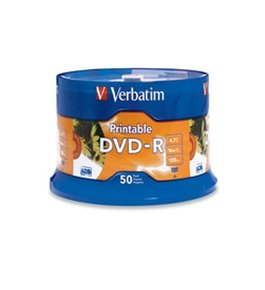 Verbatim DVR-R 4.7GB 16X White Inkjet Printable with Branded Hub - 50pk Spindle, Pack of 50, Minimum Qty. 4 - 95137