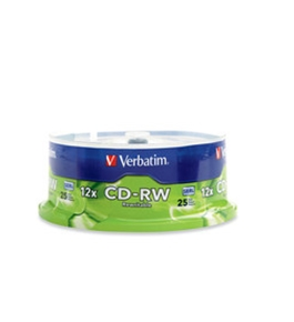 Verbatim CD-RW 700MB 4X-12X High Speed with Branded Surface - 25pk Spindle,Minimum Qty. 6 - 95155