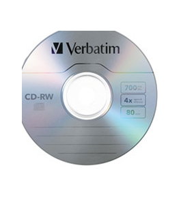 Verbatim CD-RW 700MB 2X-4X with Branded Surface - 25pk Spindle,Minimum Qty. 6 - 95169