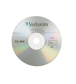 Verbatim CD-RW 700MB 2X-4X with Branded Surface - 10pk Slim Case,Minimum Qty. 8 - 95170