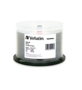 Verbatim DVD-R 4.7GB 16X DataLifePlus Shiny Silver Silk Screen Printable - 50pk Spindle,Minimum Qty. 4 - 95203