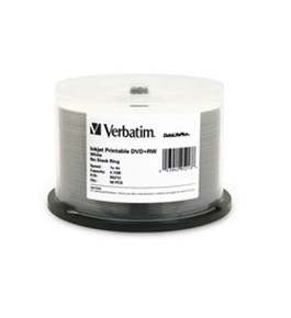 Verbatim DVD+RW 4.7GB 4X DataLifePlus White Inkjet Printable - 50pk Spindle,Minimum Qty. 4 - 95213