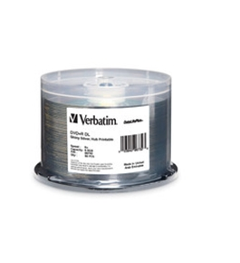Verbatim DVD+R DL 8.5GB 8X DataLifePlus Shiny Silver Silk Screen Printable, Hub Printable - 50pk Spindle,Minimum Qty. 4 - 96735