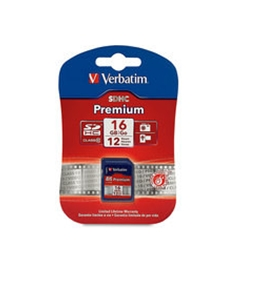 Verbatim 16GB Premium SDHC Memory Card, Class 10,Minimum Qty. 4 -96808
