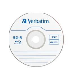 Verbatim BD-R 25GB 6X with Branded Surface - 1pk Jewel Case Box,Minimum Qty. 5 - 96910