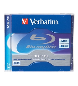 Verbatim 96911 50 GB 6x Blu-ray Double-Layer Recordable Disc BD-R DL, 1-Disc Jewel Case,Minimum Qty. 5