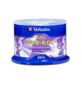Verbatim DVD+R DL 8.5GB 8X with Branded Surface - 50pk Spindle,Minimum Qty. 4 - 96542