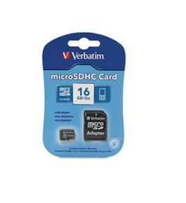 Verbatim 16GB MicroSDHC Memory Card with Adapter, Class 4, Minimum Qty. 4 - 97180