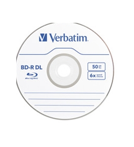 Verbatim BD-R DL 50GB 6X with Branded Surface - 25pk Spindle,Minimum Qty. 6 - 98356