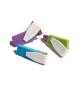 Verbatim 8GB Swivel USB Flash Drive - 3pk - Blue, Green, Violet,Minimum Qty. 10 - 98426