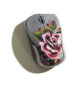 Verbatim Wireless Notebook Multi-Trac Blue LED Mouse, Tattoo Series ? Rose,Minimum Qty. 4 - 98614