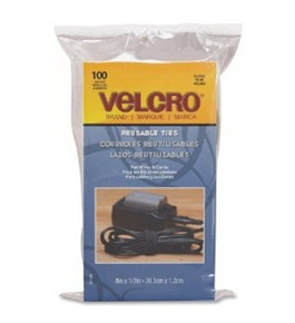 Velcro Reusable Self-Gripping Cable Ties, 0.5 Inches x 8 Inches Long, Black, 100 Ties per Pack (91140)