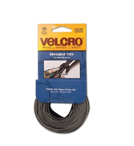 Velcro Reusable Self-Gripping Ties, 0.5 Inches x 8 Inches, Black/Gray, 50 Ties per Pack (90924)