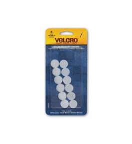 Velcro Sew-On Coins, 1/2 Inch, White, 6 Sets (90002)