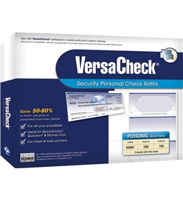 VersaCheck® Security Personal Check Refills: Form # 3001 - Personal Wallet - Blue Premium - 250 Sheets