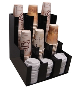 Verticle Coffee Cup Dispenser and Lid Holder Condiment Stirrer, Sugar Cup Caddy Organize and Display Your Coffee Counter with Style
