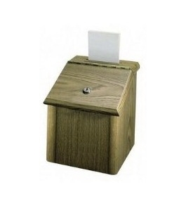 Vertiflex Products 50007 Wood Suggestion Box, Medium Oak Finish, 7-3/4W X 7-1/4D X 9-3/4H