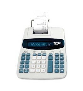"Victor 1220-4 Desktop Printing Calculator - 12 Character(s) - Fluorescent - AC Supply, Power Adapter Powered - 8"" x 11"" x 2.5"""