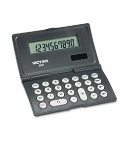 Victor 909 Folding Calculator - 10 Character(s) - LCD - Solar, Battery Powered - Black, White