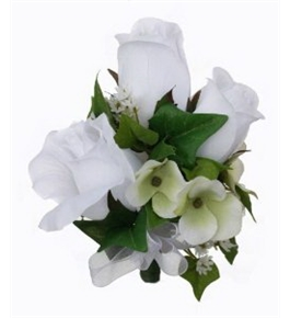 White Silk Rose Corsage