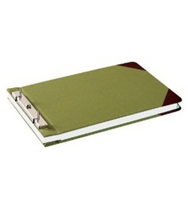 "Wilson Jones Canvas Sectional Storage Post Binder For 8-1/2 X 14 Sheets, 4-1/4"" Post Spacing, Green Canvas, W278-32A"