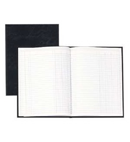Wilson Jones Hardbound Record Book, 9.25 x 7 Inches, 80 Pages, 33 Lines per Page, Black (W74118A)