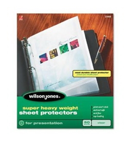 Wilson Jones Super Heavy Weight Top-Loading Sheet Protectors, Letter Size, 50 Sleeves per Box, Clear