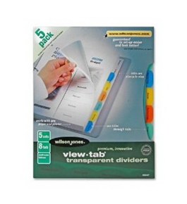 Wilson Jones View-Tab Transparent Dividers 8 Tab, 8.5 x 11 Inch Sheet Size, Square Multi-Color Tabs