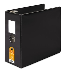 "Wilson Jones 384 Line Heavy-Duty Locking D-Ring Binder, With Label Holder, 5"", Black"