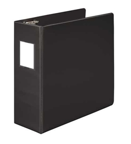 "Wilson Jones 384 Line Heavy-Duty Locking D-Ring Binder, With Label Holder, 4"", Black"