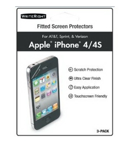 WriteRight 9224401 iPhone 4/4S Fitted Screen Protectors - 3 Pack - Retail Packaging - Clear