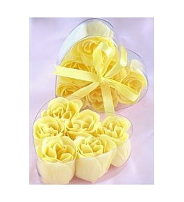 Yellow Rose Petal Soaps (6 rose soaps per box) - 1 Box