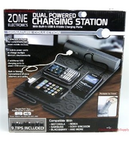 ZONE ELECTRONICS Dual Powered Mobile USB Charging Station With Adapters