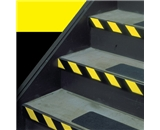 1- x 36 yds. Black/Yellow Striped Vinyl Safety Tape (48 Per Case)