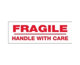 2- x 110 yds. - -Fragile Handle With Care- (6 Pack) Pre-Printed Carton Sealing Tape (6 Per Case)