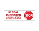 2- x 110 yds. - -Stop If Seal Is Broken- (6 Pack) Pre-Printed Carton Sealing Tape (6 Per Case)