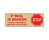 2- x 110 yds. - -Stop If Seal Is Broken- Tan (6 Pack) Tape Logic™ Pre-Printed Carton Sealing Tape (6 Per Case)