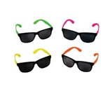 4 Neon Sunglasses Hip Hop 80-s Shades Glasses - Dark lenses - 4 hot neon colors!