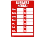 Garvey Printed Plastic Sign 098011 Business Hours Red and White